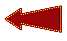 large red arrow facing left bedazzled with yellow circular lights on border