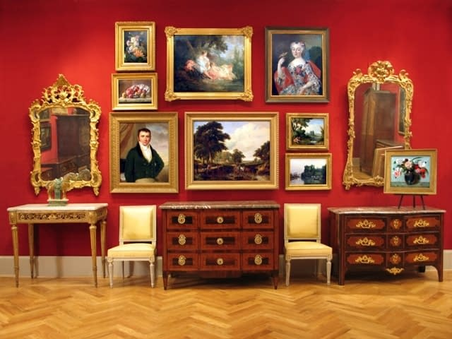 wall with classical art with furniture and decor