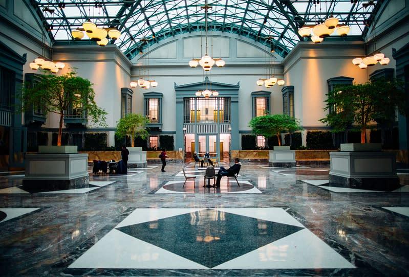 lobby of train station