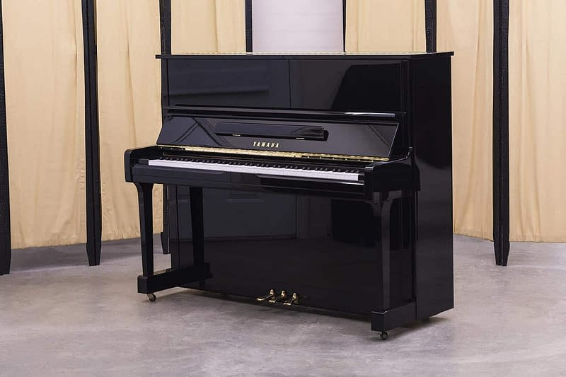black upright yamaha piano