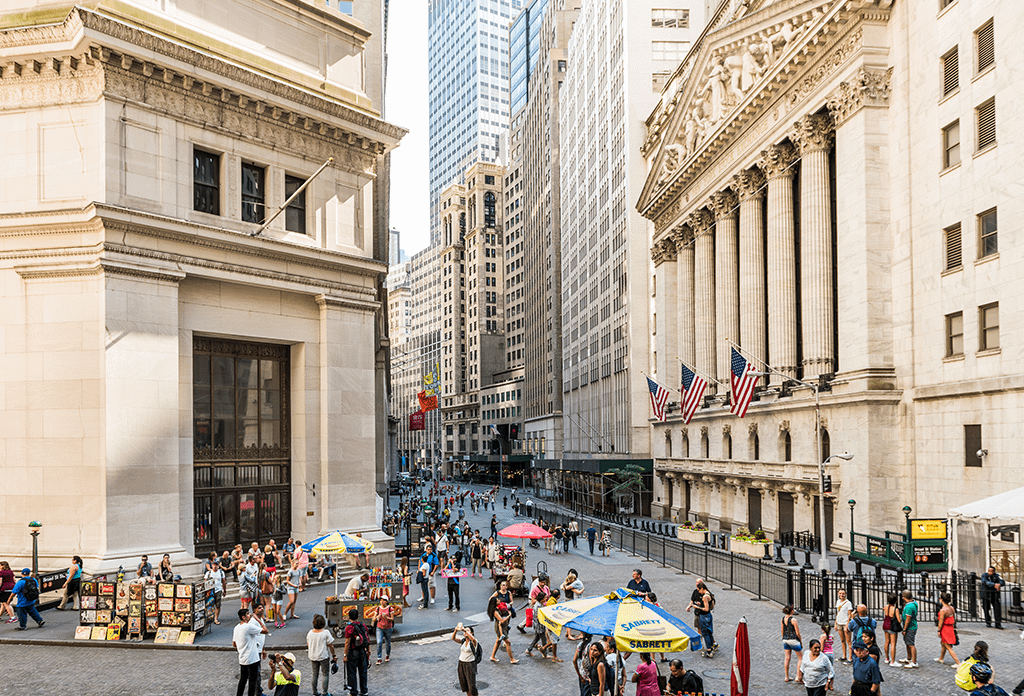 Broad Street And The New York Stock Exchange In The Financial District
