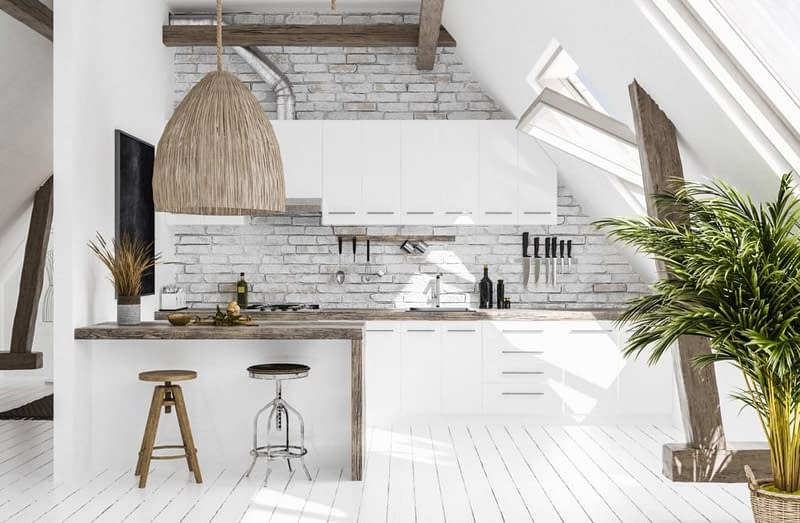 Modern Kitchen In Attic, Scandi Boho Style