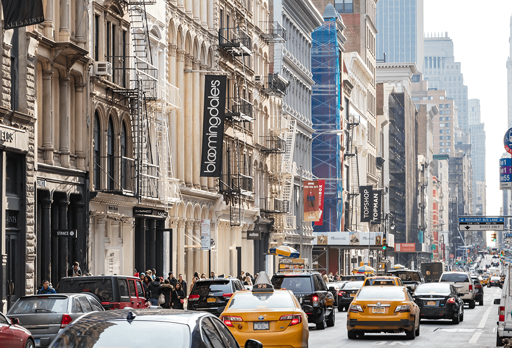 Busy Street With Cast Iron Architecture In Soho