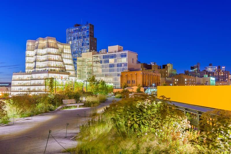 New York, New York, Usa Cityscape On The High Line Linear Park.
