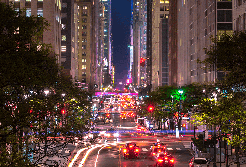 Night View From Tudor City Over 42nd Street